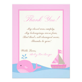 4x5 FLAT Thank you Card Pink Naut Sail Boat Whale Invites
