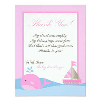 4x5 FLAT Thank you Card Pink Naut Sail Boat Whale Personalized Invitation