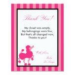 4x5 FLAT Thank you Card Pink Poodle Paris Eiffel Personalized Invitations