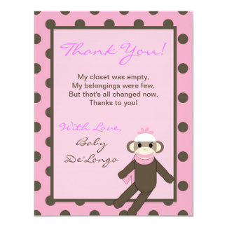 4x5 FLAT Thank you Card Pink Sock Monkey 11 Cm X 14 Cm Invitation Card