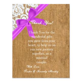 4x5 FLAT Thank You Card Purple Burlap Lace Personalized Invitation