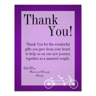 4x5 FLAT Thank You Card Purple Double Bike 11 Cm X 14 Cm Invitation Card