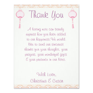 4x5 FLAT Thank You Card Purple Pink Lantern/Flower Personalized Invites