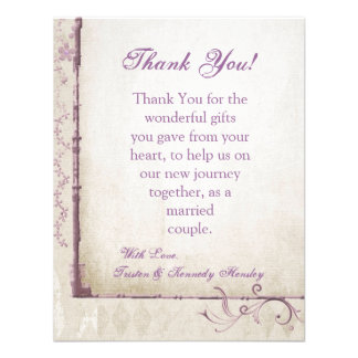 4x5 FLAT Thank You Card Purple Spring Floral