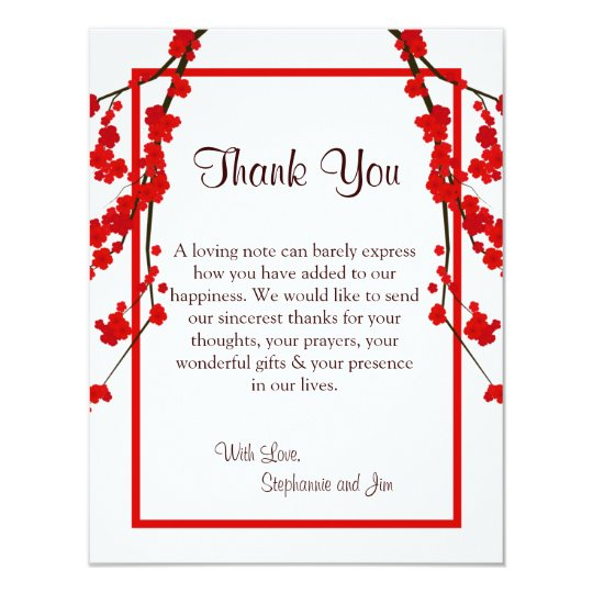 4x5 FLAT Thank You Card Red Cherry Blossom