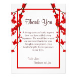 4x5 FLAT Thank You Card Red Cherry Blossom Personalized Invitations