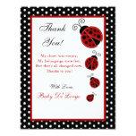 4x5 FLAT Thank you Card Red Ladybug 11 Cm X 14 Cm Invitation Card