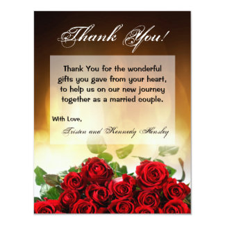 4x5 FLAT Thank You Card Red Rose Bouquet Bridal 11 Cm X 14 Cm Invitation Card