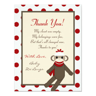 4x5 FLAT Thank you Card Red Sock Monkey 11 Cm X 14 Cm Invitation Card