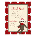 4x5 FLAT Thank you Card Red Sock Monkey Argyle Custom Invitations