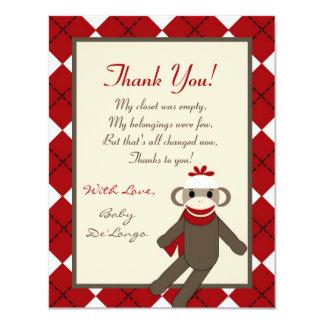 4x5 FLAT Thank you Card Red Sock Monkey Argyle Custom Invitation