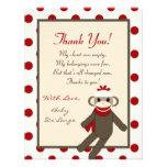 4x5 FLAT Thank you Card Red Sock Monkey Invite