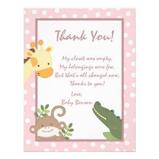 4x5 FLAT Thank you Card  Safari P Jungle Animals Custom Announcements