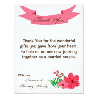 4x5 FLAT Thank You Card Spring Hibiscus Flower 11 Cm X 14 Cm Invitation Card