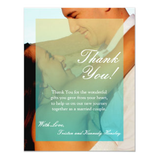 4x5 FLAT Thank You Card Sunset Fade Teal Blue Tan 11 Cm X 14 Cm Invitation Card