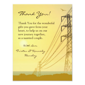 4x5 FLAT Thank You Card Sunset Powerlines 11 Cm X 14 Cm Invitation Card