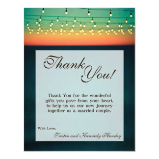 4x5 FLAT Thank You Card Sunset String Lights Yard 11 Cm X 14 Cm Invitation Card