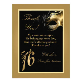 4x5 FLAT Thank you Card Sweet 16 Gold Invitations