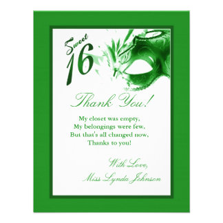 4x5 FLAT Thank you Card Sweet 16 Green Party Custom Invites
