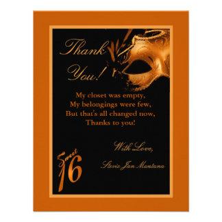 4x5 FLAT Thank you Card Sweet 16 Orange Invite