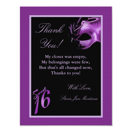 4x5 FLAT Thank you Card Sweet 16 Purple