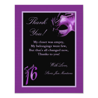 4x5 FLAT Thank you Card Sweet 16 Purple Lilac Personalized Invitation