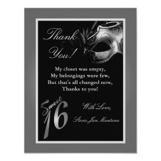 4x5 FLAT Thank you Card Sweet 16 Silver Custom Invitation