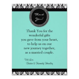 4x5 FLAT Thank You Card Teal & Black Damask Custom Invites