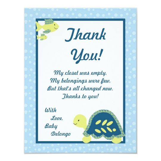 4x5 FLAT Thank You Card Turtle Reef Ocean Sea