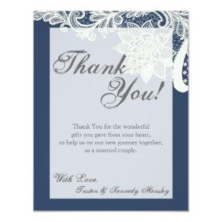 4x5 FLAT Thank You Card Vintage Victorian Lace Nav 11 Cm X 14 Cm Invitation Card