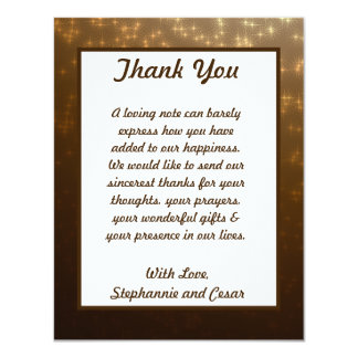 4x5 FLAT Thank You Card Winter Brown / Stars & Bub 11 Cm X 14 Cm Invitation Card