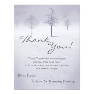 4x5 FLAT Thank You Card Winter Wonderland Trees 11 Cm X 14 Cm Invitation Card