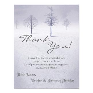 4x5 FLAT Thank You Card Winter Wonderland Trees