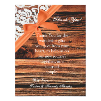 4x5 FLAT Thank You Card Wooden & Lace 11 Cm X 14 Cm Invitation Card