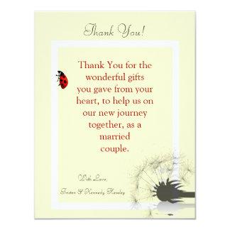 4x5 FLAT Thank You Card Yellow and Lady Bug Custom Invitation
