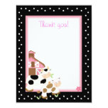 4x5 Pink Farm Baby Moo Cow Matte Flat Thank you 11 Cm X 14 Cm Invitation Card