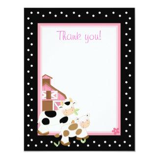 4x5 Pink Farm Baby Moo Cow Matte Flat Thank you 11 Cm X 14 Cm Invitation Card