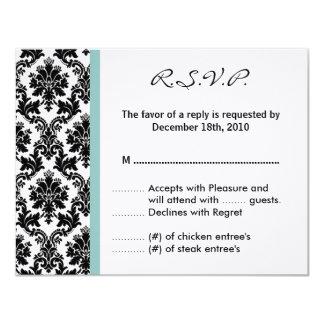 4x5 R.S.V.P. Reply Card Black Damask Blue 11 Cm X 14 Cm Invitation Card