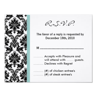 4x5 R.S.V.P. Reply Card Black Damask Blue Personalized Announcement