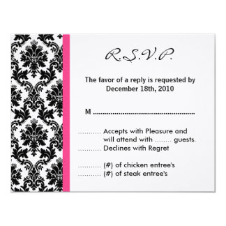4x5 R.S.V.P. Reply Card - Black Damask Hot Pink