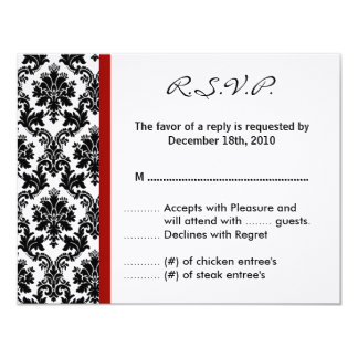 4x5 R.S.V.P. Reply Card - Black Damask Red Crimson 11 Cm X 14 Cm Invitation Card