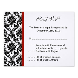 4x5 R S V P Reply Card - Black Damask Red Crimson Invitation
