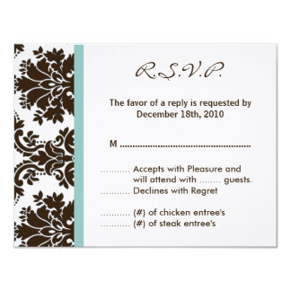 4x5 R.S.V.P. Reply Card Brown Damask Lace 11 Cm X 14 Cm Invitation Card