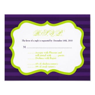 4x5 R.S.V.P. Reply Card Lime Green & Purple Stripe 11 Cm X 14 Cm Invitation Card
