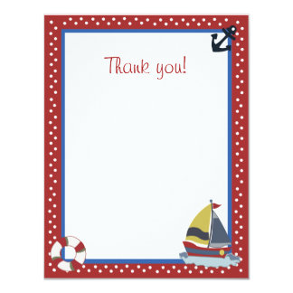 4x5 Sailing Away Sailboat Red Matte Flat Thank you 11 Cm X 14 Cm Invitation Card