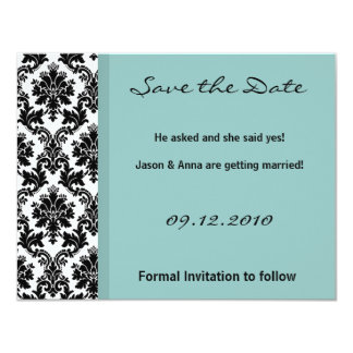 4x5 Save the Date Card - Black Damask Blue 11 Cm X 14 Cm Invitation Card