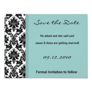4x5 Save the Date Card - Black Damask Blue Custom Invites
