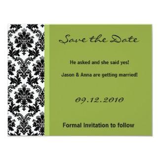 4x5 Save the Date Card - Black Damask & Green 11 Cm X 14 Cm Invitation Card