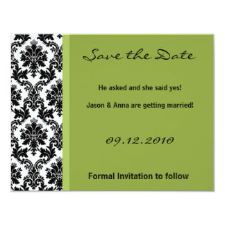 4x5 Save the Date Card - Black Damask & Green Invite