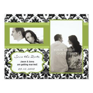 4x5 Save the Date Card - Black Damask & Green Custom Invitations